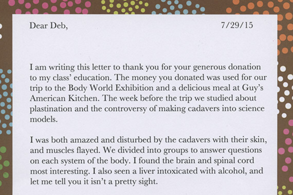 Thank You Letter Donors Choose