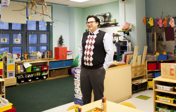 Mr. Andy in his classroom