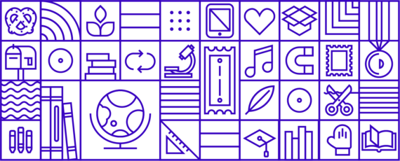 Outlined tapestry of classroom inspired icons